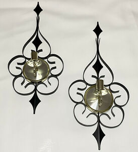 Pair Vtg Elgin Welby Starburst Wrought Iron Candle Holder Wall Sconces MCM Black