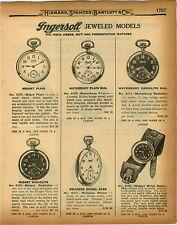 1926 PAPER AD Ingersoll Pocket Watch Midget Wrist Radiolite Reliance Waterbury