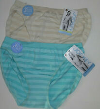 2 Jockey Bikini Panty Set Soft Nylon Seamfree Matte and Shine Blue Ivory 7 L NWT