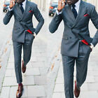 Men Slim Fit Gray Suits Double-breasted Peak Lapel Party Formal Business Suits