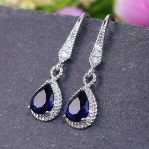 Gorgeous 925 Silver Drop Earrings Women Jewelry Cubic Zircon A Pair/set
