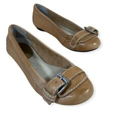 a.n.a Tan Leather Round Toe Buckle Detail Flats Size 6