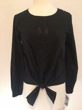 INC  789 Women Blouse Top Size XL Embroidered  long sleeve w/elastic Black  $69