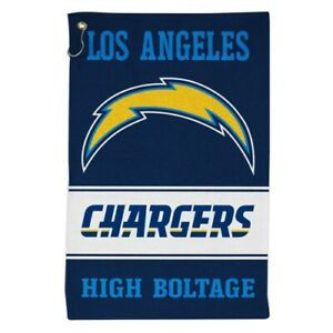 """LOS ANGELES CHARGERS ALL PURPOSE GOLF TAILGATE TOWEL 16""""X25"""" HOOK AND GROMMET"""