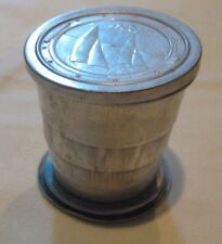Vintage Aluminum Folding Telescoping Collapsing cup & lid bicycling or camping