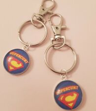 Supercunt Keyring or Bag Charm Decoration Funny Superman New Superhero Gift Fun
