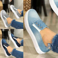 Womens Slip On Denim Pumps Sneakers Loafers Ladies Casual Flat Sport Shoes Sizes