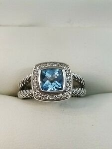 David Yurman Sterling Silver Albion Ring  with Blue Topaz and Diamonds Sz 6