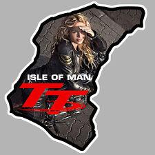 TT ISLE OF MAN ILE DE MAN PINUP BIKER 9cmX9cm AUTOCOLLANT STICKER MOTO GP IA088