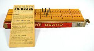 Vintage - Milton Bradley Cribbage Board #4626-A w/Metal Pegs (Card Game Board)