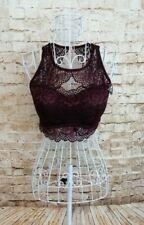 SECRET POSSESSIONS Womens Burgundy Lace Padded Longline Bra Top Size L 14/16