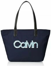 Calvin Klein Tote Bag Celia NWT Large Handbag Nylon Navy Blue MSRP $138.00