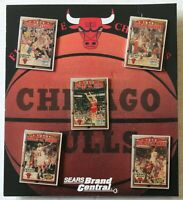 """1997 Chicago Bulls NBA Finals 5 Time Champions 1 1/4"""" Pin Set New on Card"""