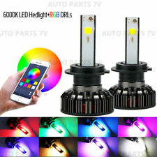 Pair H7 72W Car LED RGB Headlight APP Bluetooth Control Bulb Drive Fog Lamp