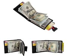 RFID SAFE Blocking Soft Black Leather Bifold Wallet Contactless Card Protection