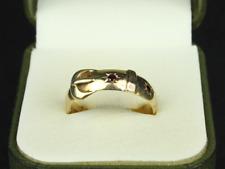 Vintage Garnet Buckle Ring 9ct Gold Gents Size W 375 4.7g Fj44