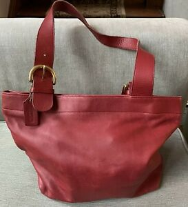 Vintage Red Leather COACH Tote Bag Purse
