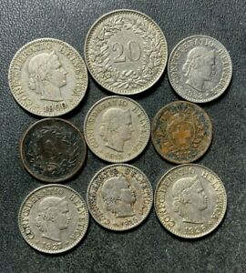 Old Switzerland Coin Lot - 1882-1933 - 9 Older Vintage Coins - lot #L25