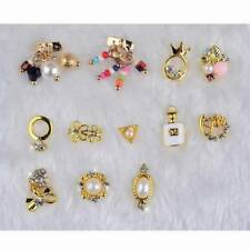 12 Design Nail Art Accessories Gold 3D Tips DIY Phone Jewelry Decoration