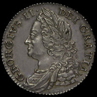 1750 George II Early Milled Silver Shilling, Narrow 0, A/EF