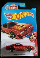 2016 Hot Wheels #93 HW Flames 3/10 77 PONTIAC FIREBIRD Dark Red Variant wBlk PR5