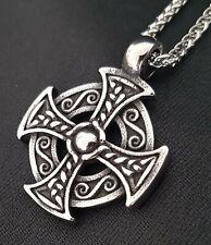 Unendlicher Knoten Anhänger Zinn Celtic Keltisch rund mit schwarzem Band AZ003
