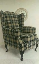 Wing Back Queen Anne Chair Black and grey tartan fabric
