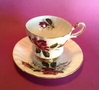 Queen Anne Pedestal Swirled TeaCup And Saucer -  Red Pink Black Roses - England
