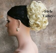 Short Blonde Curly Ponytail Claw Clip in Hair Piece Wedding Updo Color #613