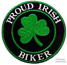 PROUD IRISH BIKER embroidered PATCH CLOVER SHAMROCK IRELAND iron-on EIRE emblem