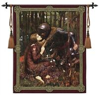 KNIGHT IN ARMOR LABELL LADY MEDIEVAL ART TAPESTRY WALL HANGING 42x53