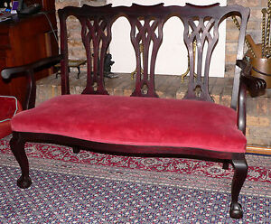 "Settee, Bench, small Sofa, Chippendale Revival, mahogany, 52""w, Circa 1900"