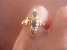 ANTIQUE 14K ROSE GOLD RING WITH DIAMONDS & BLUE SAPPHIRES SIZE 6 1/2