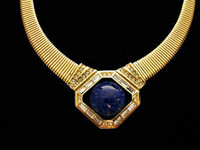 VINTAGE DIOR GOLD TONE SNAKE FAUX LAPIS CABOCHON AND CLEAR RHINESTONES NECKLACE