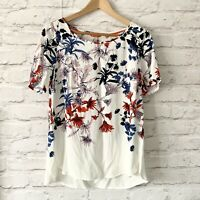 JOULES HANNAH Top Size 8 WHITE | Smart CASUAL Work Office Blouse Floral NEW