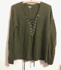 Charlotte Russe Women's Sweater Dark Olive Green Long Sleeve Pullover Size M