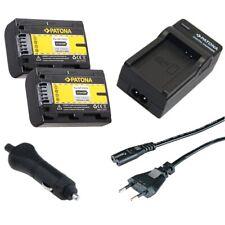 2x Batteria Patona + Caricabatteria casa/auto per Sony DCR-SR70E,DCR-SR72