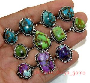 New PCs Lot Natural Copper Turquoise Gemstone 925 Sterling Silver Plated Rings