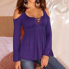 Plus Size Women Cold Shoulder Lace Up Neck T-Shirt Casual Slim Tops Blouse S-5XL