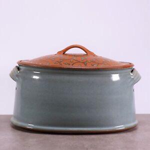 von Hand gefertigter, glasierter Brottopf/Vorratstopf aus grauem Steingut