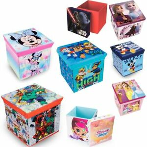 KIDS CHILDRENS HOME OTTOMANS FOOTSTOOLS CUBE STORAGE OTTOMAN SOFT LID SEAT