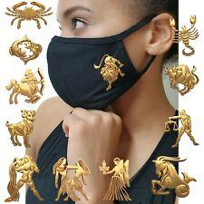 GOLD HOROSCOPES FACE MASK ZODIAC SIGNS ASTROLOGY LEO CANCER BIRTHDAY JULY COTTON