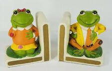 Vintage Lefton male & female green frog hand painted ceramic book ends set of 2