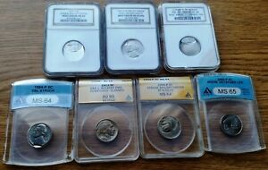 "7 HARD TO FIND .05 CENT US ERROR ""SLABBED"" COINS - ANACS, NGC"
