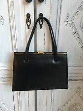 Vintage Ackery Bag - Dolly/Kelly Style 1940s-50s Black Leather