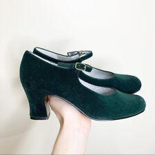 Apostrophe Green Velvet Jodette Mary Jane Pumps Size 8.5 US