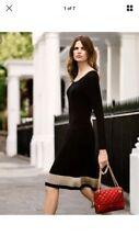 Jaeger M Black, Beige Wool Dress, Pleated Skirt