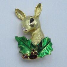 Deer Rhinestone Crystal Green Enamel Cute Christmas Holiday Pin Brooch Gold Tone