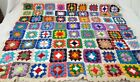 Vintage Granny Square Crochet Afghan Throw Blanket Multicolored Pastel 34