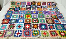 "Vintage Granny Square Crochet Afghan Throw Blanket Multicolored Pastel 34"" x 40"""